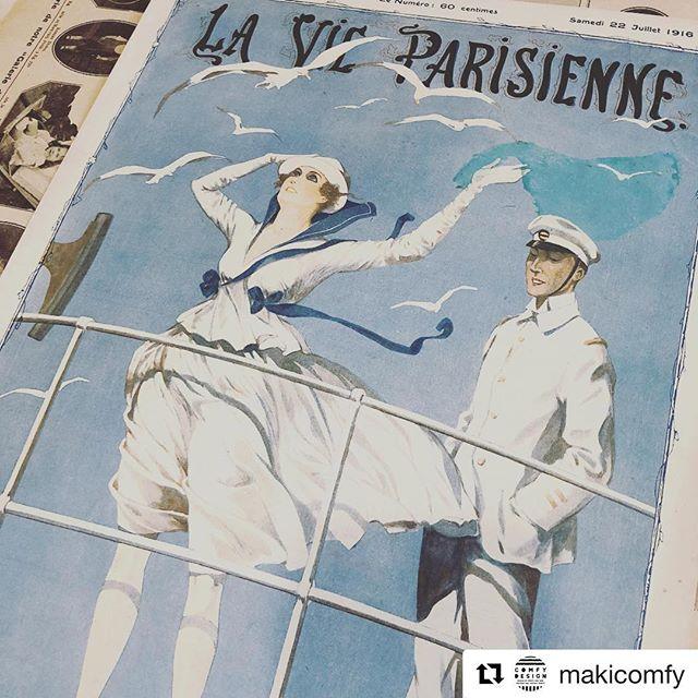 #瀬戸内海育ち海が恋しくなった一枚でした#海が恋しい#Repost @makicomfy with @get_repost・・・1916年のLA VIE PARISIENNEの表紙。今まで扱ってきたLA VIE PARISIENNEの中で一番の爽やかさんです。腰元にリボンのついたマリンルック。風を感じますね〜♪瀬戸内海育ち。海が恋しいです近日オンラインショップにアップ予定です。イラスト:ジョルジュ・レオネック——————————————————————— (Instagram)